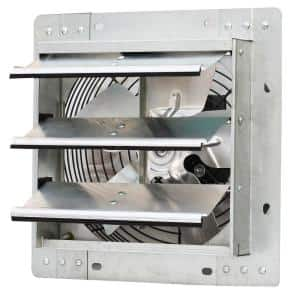 600 CFM Silver Electric Powered Gable Mount Shutter Fan/Vent