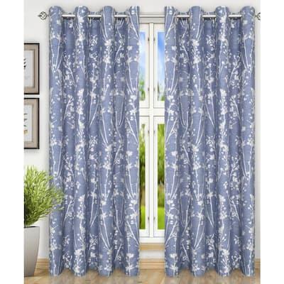 Cobalt Floral Grommet Room Darkening Curtain - 50 in. W x 84 in. L