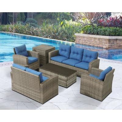 6-Piece Wicker Rattan Patio Sofa Seating Group with Blue Cushions