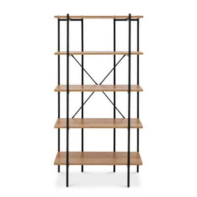 Querencia 63 in. Beige Wooden 5-Shelf Standard Bookcase with Metal Frame