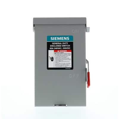 General Duty 60 Amp 2-Pole 2-Wire 240-Volt Non-Fusible Outdoor Safety Switch