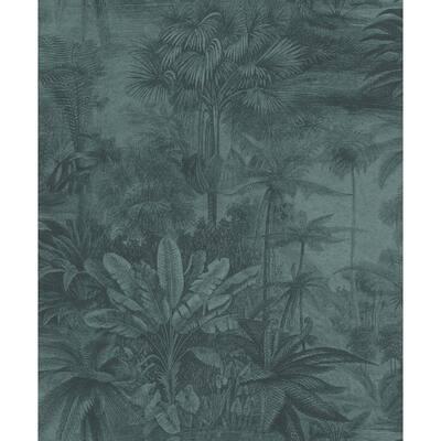 Anamudi Teal Tropical Canopy Wallpaper Sample