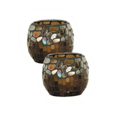 4 in. Crown Point Hand Blown Art Glass Candle Holder 2-Piece Set