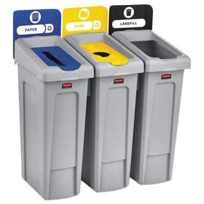 69 Gal. 3-Stream Landfill/Paper/Bottles/Cans Slim Jim Indoor Recycling Station Kit