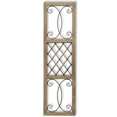 Traditional Rectangle Aspire Scroll Metal and Wood Wall Art