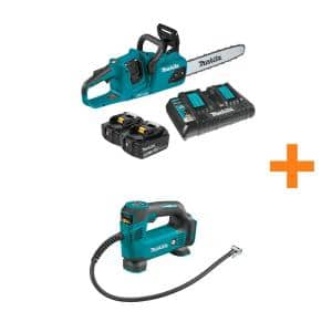 14 in. 18-Volt X2 (36-Volt) LXT Lithium-Ion Brushless Cordless Chain Saw Kit(5.0Ah) with Bonus 18V LXT Cordless Inflator