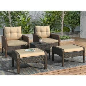 Brown 5-Piece Wicker Patio Conversation Set with Coffee Brown Cushions
