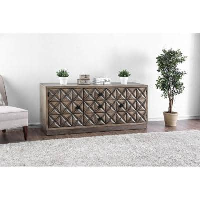 Markos II 20 in. Weathered Light Oak Wood TV Stand 55 in. with Solid Storage Doors