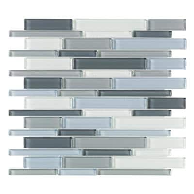 Stratosphere Blue Pencil 12.375 in. x 12.875 in. Interlocking Glossy Glass Mosaic Tile (1.106 sq. ft./Each)