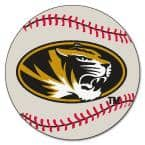 NCAA - University of Missouri White 2 ft. 3 in. x 2 ft. 3 in. Round Accent Rug