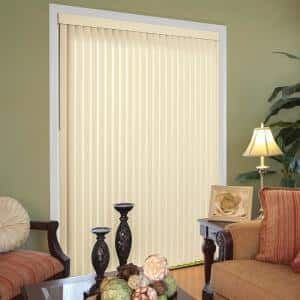 Heather Buff Room Darkening 3.5 in. Vertical Blind Kit for Sliding Door or Window - 78 in. W x 84 in. L