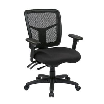26.5 in. Width Big and Tall Black Fabric Task Chair with Swivel Seat