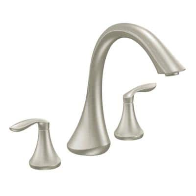 Eva 2-Handle Deck-Mount Roman Tub Faucet Trim Kit in Brushed Nickel (Valve Not Included)