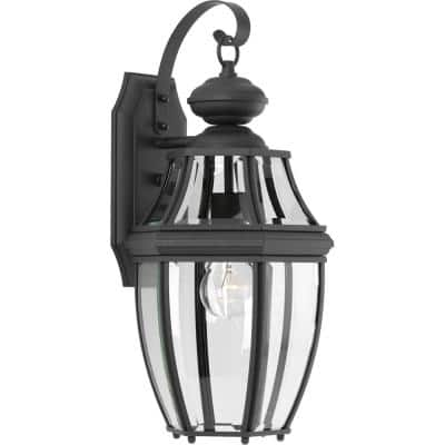 New Haven Collection 1-Light Textured Black Clear Beveled Glass New Traditional Outdoor Medium Wall Lantern Light