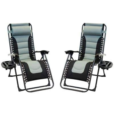 Black Foldable Metal Frame Padded Outdoor Cloth Gravity Chairs with Foot Cover and Big Cupholder in Grey (2-Pack)