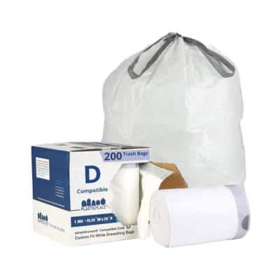 15.75 in. x 28 in. 5.2 Gal. /20 liter White Drawstring Garbage Liners Simplehuman Code D Compatible (200-Count)