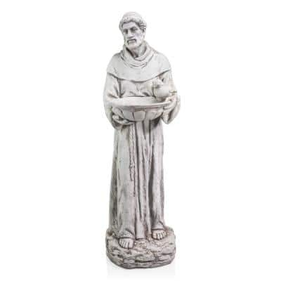 45 in. Tall Outdoor Saint Francis Birdbath Statue Yard Art Decoration, Light Gray
