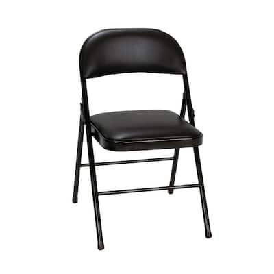 Black Vinyl Padded Seat Folding Chair (Set of 2)