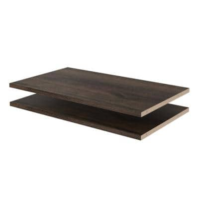 24 in. W x 14 in. D Espresso Wood Shelves (2-Pack)