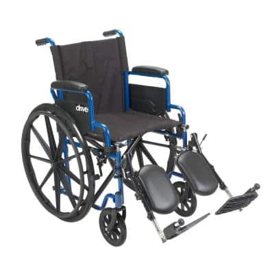 20 in. Blue Streak Wheelchair with Flip Back Desk Arms and Elevating Leg Rests