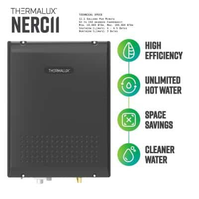 11.1 GPM Liquid Propane Indoor Condensing (Direct Vent) Residential Tankless Water Heater - 199,900 BTU