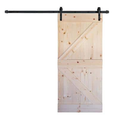 36 in x 84 in K Series DIY Unfinished Knotty Pine Wood Sliding Barn Door Slab with Hardware Kit
