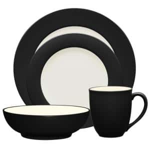 Colorwave Graphite Black  Stoneware Rim 4-Piece Place Setting (Service for 1)