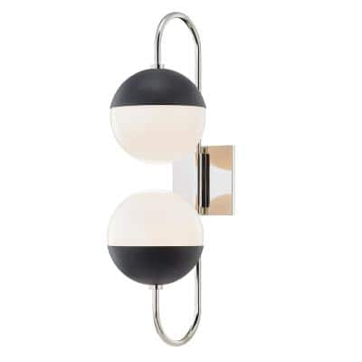 Renee 2-Light Polished Nickel/Black Wall Sconce with Opal Glossy Shade