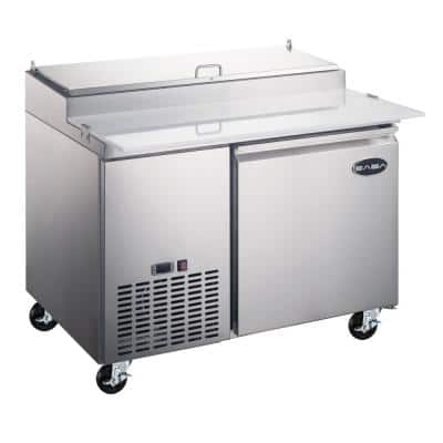 44.5 in. W 13 cu. ft. Commercial Pizza Prep Table Refrigerator Cooler in Stainless Steel