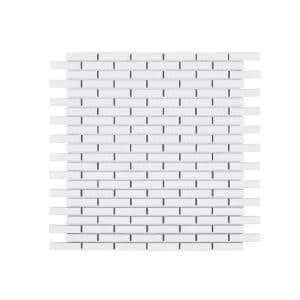Trinket White 11.625 in. x 12 in. x 6 mm Interlocking Matte Porcelain Wall and Floor Mosaic Tile (0.968 sq. ft./Each)