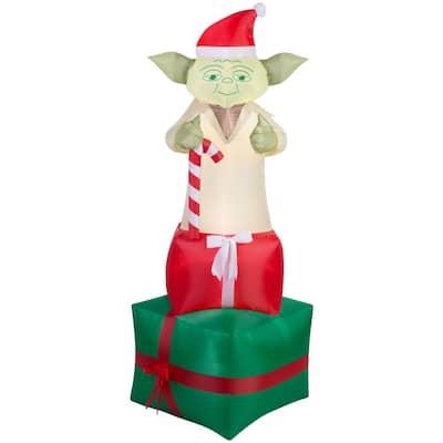 6 ft. Inflatable Yoda on Presents Star Wars Christmas