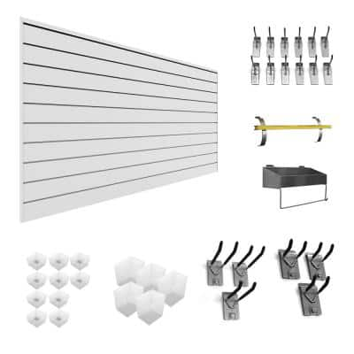 PVC Slatwall 8 ft. x 4 ft. White Handyman Combo Kit (35-Piece)