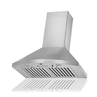 KOBE 30 in. 600 CFM Wall Mount Range Hood in Stainless Steel with Flame/Temp Sensors