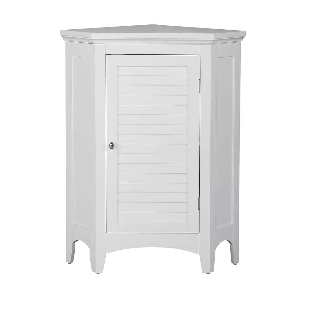 Elegant Home Fashions Simon 24 3 4 In W X 17 In D X 32 In H Corner Bathroom Linen Storage Floor Cabinet With Shutter Door In White Hdt586 The Home Depot