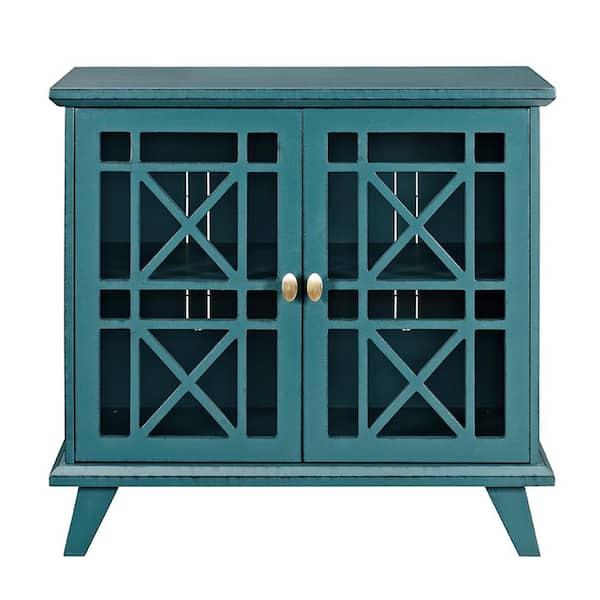 Walker Edison Furniture Company 32 Decorative Fretwork Accent Storage Cabinet Blue Hd32fwabu The Home Depot