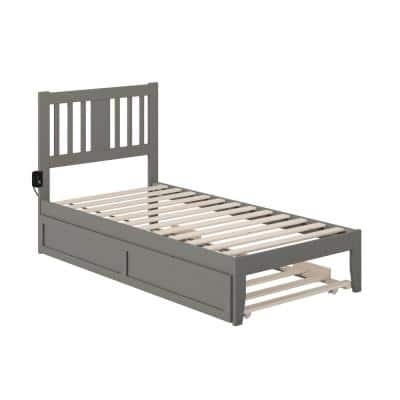 Tahoe Twin Bed with USB Turbo Charger and Twin Trundle in Grey