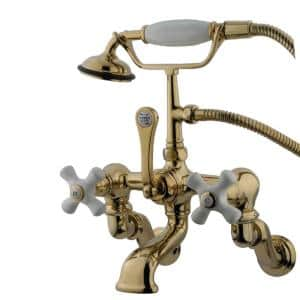 Vintage Adjustable Center 3-Handle Claw Foot Tub Faucet with Handshower in Polished Brass