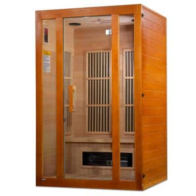 Lifesauna Aspen 2-Person Infrared Sauna with 4 Dual Tech Multi Infrared Heaters and Chromotherapy