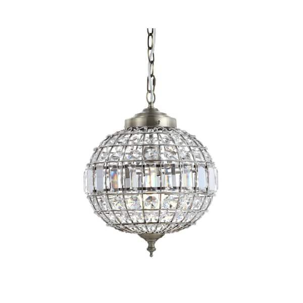 Jonathan Y Georgina 12 In 1 Light Antique Brass Crystal Metal Led Chandelier Pendant Jyl6110a The Home Depot