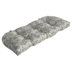Rectangle Outdoor Wicker Settee Cushion in Neutral Aurora Damask