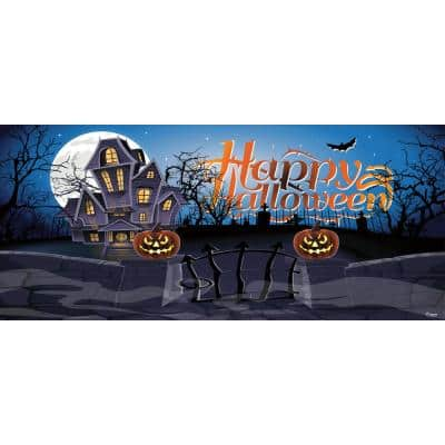 7 ft. x 16 ft. Haunted Mansion Outdoor Halloween Holiday Garage Door Decor Mural for Double Car Garage