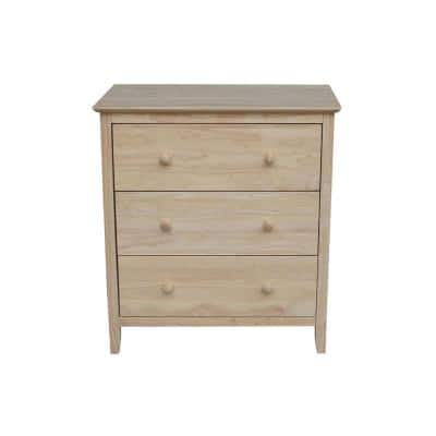 Brooklyn 3-Drawer Unfinished Wood Chest of Drawers