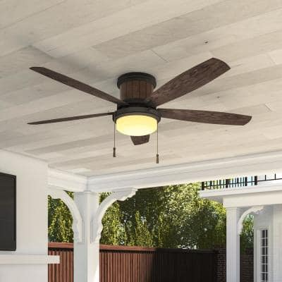 Roanoke 56 in. LED Indoor/Outdoor in Natural Iron Ceiling Fan
