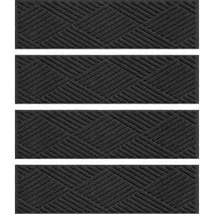 Aqua Shield Diamonds 8.5 in. x 30 in. Stair Treads (Set of 4) Charcoal