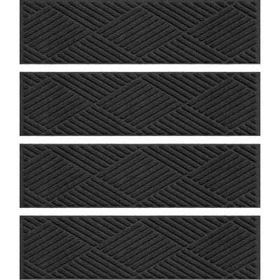Aqua Shield Diamonds 8.5 in. x 30 in. Stair Treads (Set of 4) Charcoal