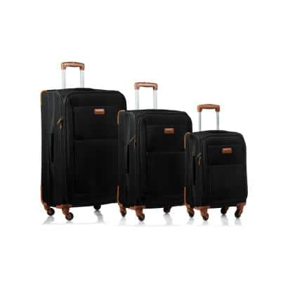 CHAMPS Classic 28 in.,24 in., 20 in. Black Softside Luggage Set with Spinner Wheels (3-Piece)