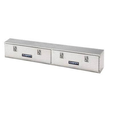 96 in Diamond Plate Aluminum Full Size Top Mount Truck Tool Box with mounting hardware and keys included, Silver