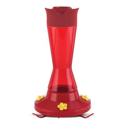 Red Pinch Waist Plastic Hummingbird Feeder - 16 oz. Capacity