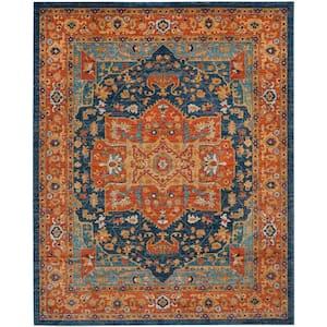 Evoke Blue/Orange 9 ft. x 12 ft. Area Rug