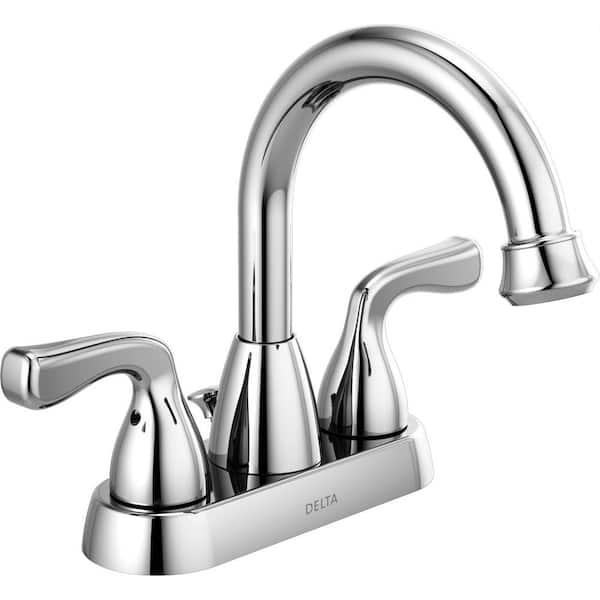 Delta Foundations 4 in. Centerset 2-Handle Hi-Arc Bathroom Faucet in Chrome